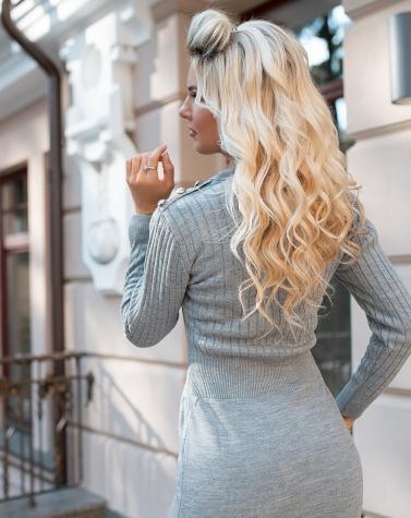 Вязаное платье серое 4001