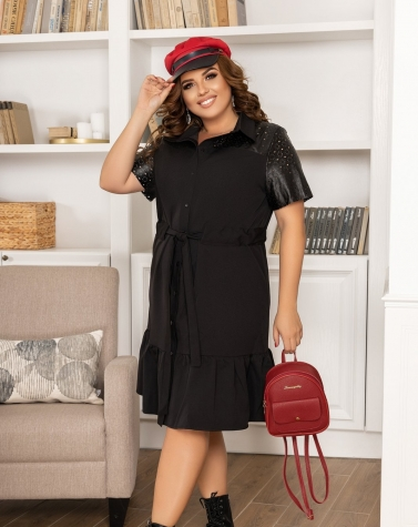 Стильное чёрное платье 7878 (БОЛЬШОЙ РАЗМЕР)