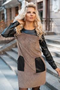 Комбинированное вельветовое платье 7918