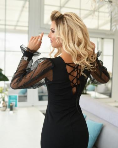 Нарядное платье с прозрачными рукавами 7927