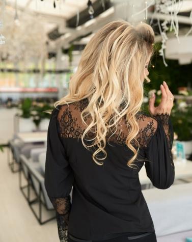 Комбинированная кружевная блузка 1353