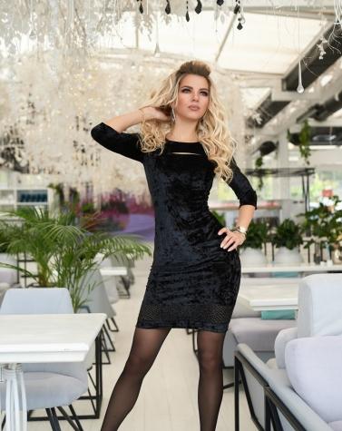 Велюровое платье со шнуровкой 7737