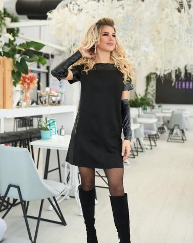 Замшевое платье с перчатками 7925