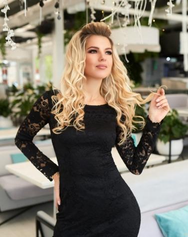 Гипюровое платье с длинным рукавом 7933