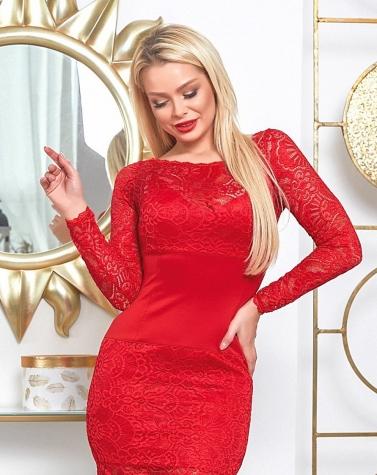 Красное гипюровое платье с корсетом 7870