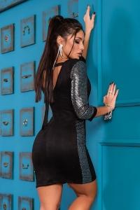 Облегающее  платье с контрастными лампасами 7862