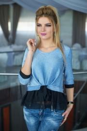 Блузка голубая с оборками 1320