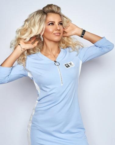 Спортивное платье с лампасом голубое 7911
