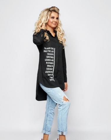 Стильная удлиненная рубашка с надписями 1361