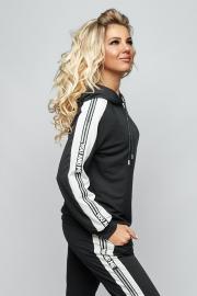 Спортивный костюм с лампасом чёрный  5088
