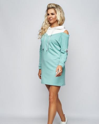 Платье с открытыми плечами ментоловое 7920