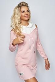 Платье с открытыми плечами розовое 7920