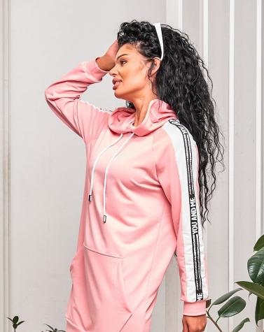 Платье-худи с лампасом розовое 7938
