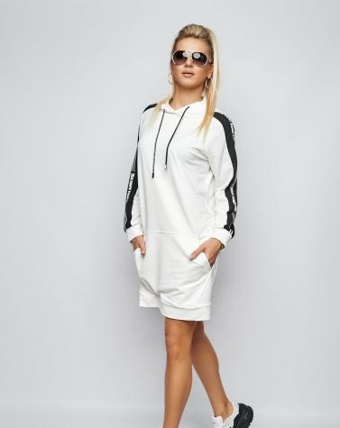 Платье-худи с лампасом молочное 7938