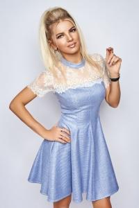 Расклешенное платье голубое 7865