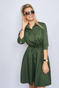 Платье-рубашка хаки 7937