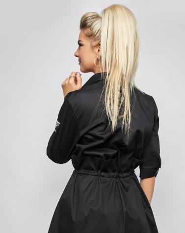 Хлопковое платье-рубашка чёрное 7937