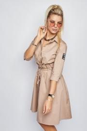 Платье-рубашка бежевое 7937
