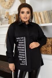 Стильная рубашка с надписями чёрная 1365