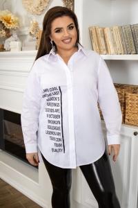Стильная хлопковая рубашка с надписями белая 1365
