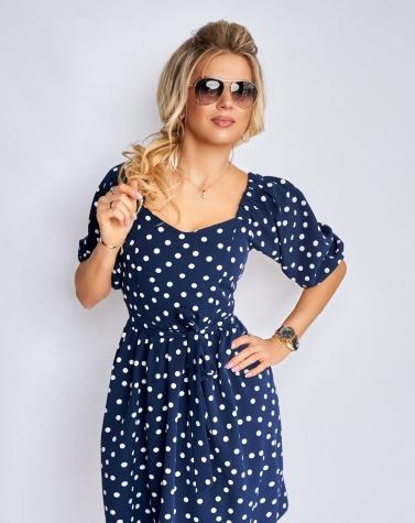 Синее платье в  горошек 7877
