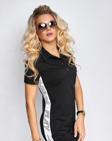 Спортивное платье с лампасами чёрное 7939