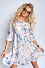 Платье в цветочный принт розовое 7942