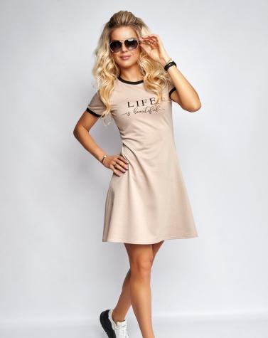 Расклешенное платье с принтом бежевое 7940