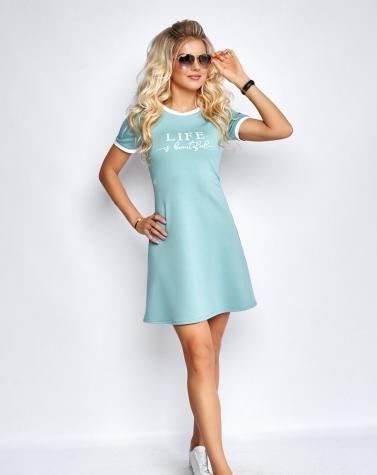 Платье с надписью ментоловое 7940