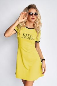 Расклешенное платье с надписью жёлтое 7940