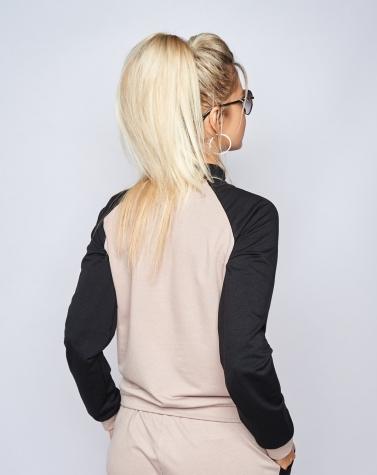 Ультра стильный костюм с надписями бежевый 5093