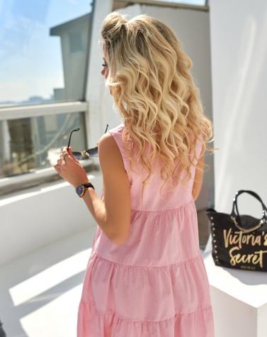Романтичное платье в горошек розовое 7761