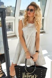 Романтичное платье в горошек молочное 7761
