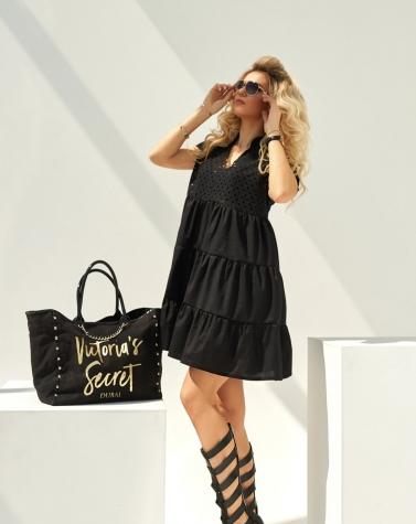 Oversize-платье с прошвой чёрное 7952