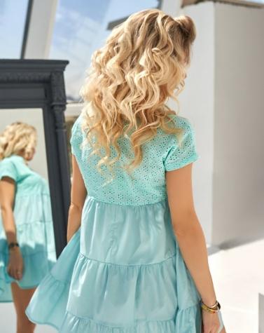 Oversize-платье с прошвой ментоловое 7952