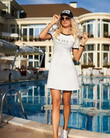 Летнее трикотажное платье молочное 7940