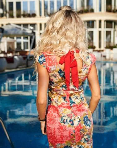 Платье коралловое 7247