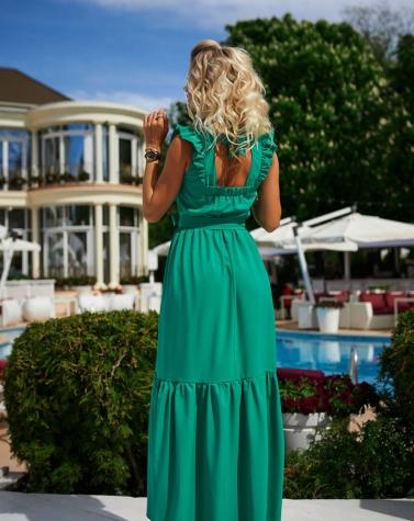 Длинное платье с крышками зелёное 7953