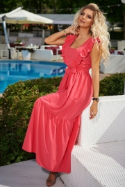 Длинное платье с крышками коралловое 7953