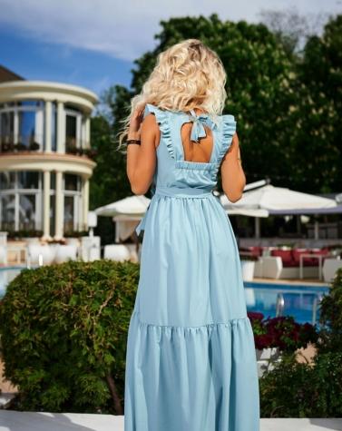 Длинное платье с крышками ментоловое 7953