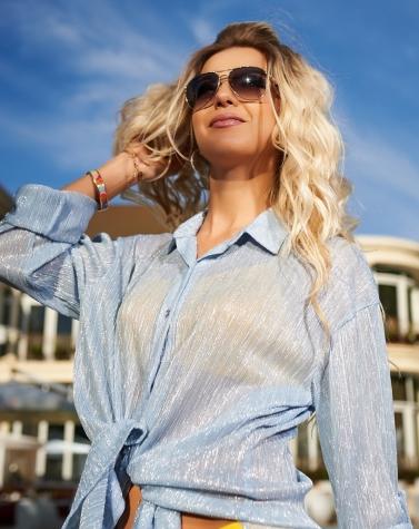 Рубашка для пляжа голубая 7957