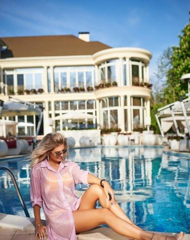 Рубашка для пляжа розовая 7957