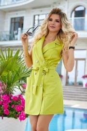 Платье-пиджак оливковое 7943