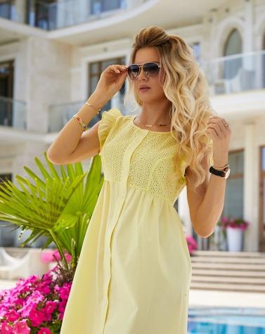 Летнее платье с прошвой лимонное 7898