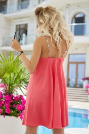 Платье с цепочками коралловое 7954