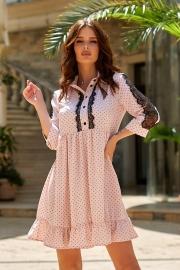 Платье в горошек с кружевом 7812