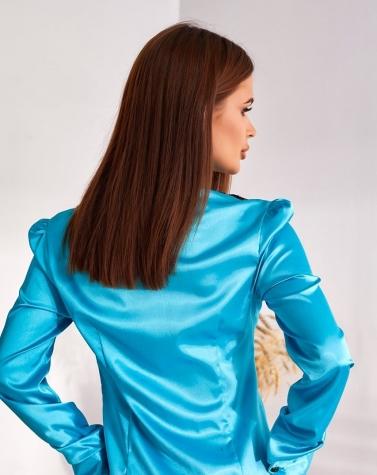 Блузка с жабо голубая 1200