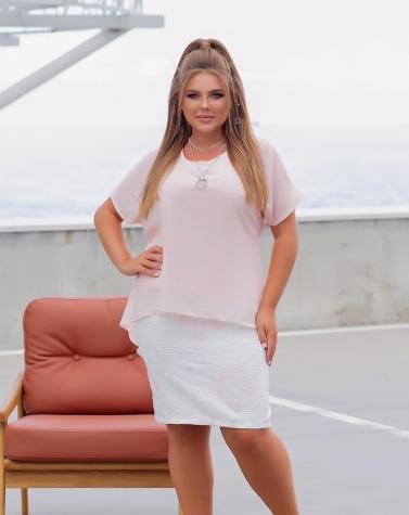 Платье с шифоном (большой размер) 7564