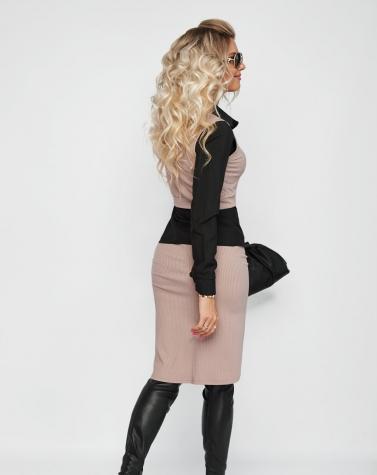 Костюм юбка+топ бежевый 6001
