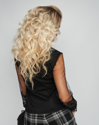 Нарядная чёрная блузка 1338